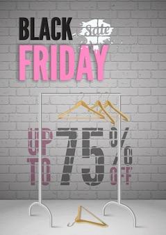 Czarny piątek sprzedaż ubrań realistyczny szablon plakatu. stojak z pustymi wieszakami ilustracja 3d. oferty specjalne butiku mody. odzież ze zniżką 75% na układ banera
