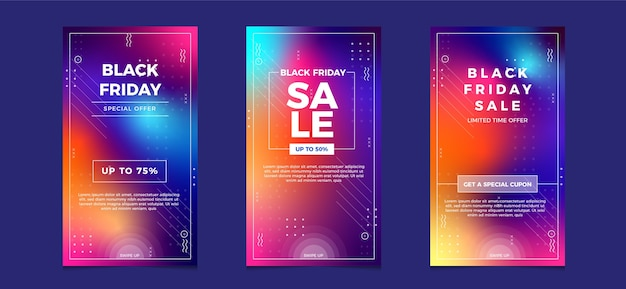 Czarny piątek sprzedaż w mediach społecznościowych na instagramie z kolorem gradientu