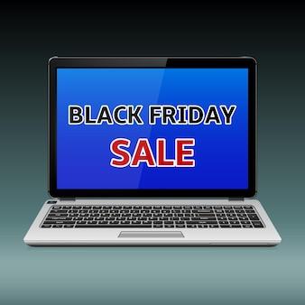 Czarny piątek sprzedaż wiadomość na niebieskim ekranie laptopa