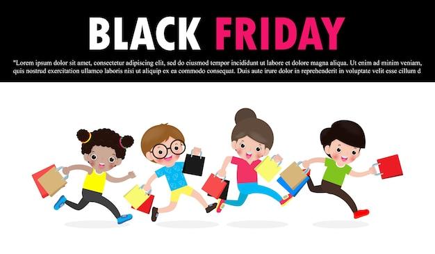 Czarny piątek sprzedaż wydarzenie ludzie postacie kreskówka z torba na zakupy, plakat reklamowy baner koncepcja promocji dużych rabatów na białym tle na czerwonym tle ilustracji