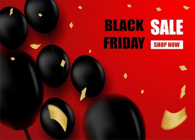 Czarny piątek sprzedaż z czarnymi balonami na czerwonym tle