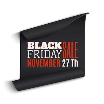 Czarny piątek sprzedaż zakrzywiony papierowy baner.