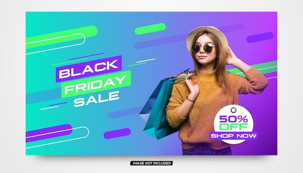 Czarny piątek sprzedaż zakupy online nowoczesny szablon transparent