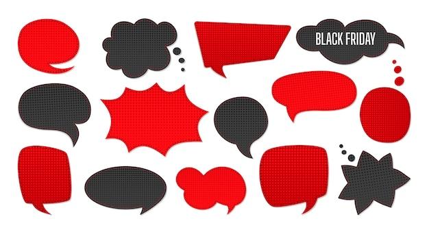 Czarny piątek sprzedaż zestaw bańki mowy. szablon naszywki reklamowe notatnik sprzedaży, promocji. tło kropki półtonów, czarne i czerwone. kolekcja komiksowa w stylu lat 80.-90.