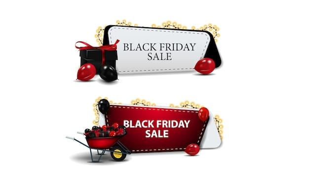 Czarny piątek sprzedaż, zestaw kuponów rabatowych na białym tle. kupony rabatowe z prezentami i taczką z prezentami