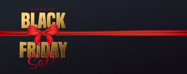 Czarny piątek sprzedaż złota tekstura i realistyczny czerwony luksus wstążka. plakat reklamowy .logo złoty kolor na ciemno. ilustracja.