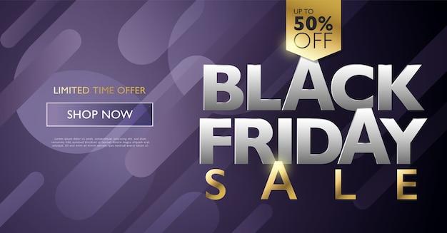 Czarny piątek sprzedaż zniżki baner marketingowy koncepcja ze złotymi literami