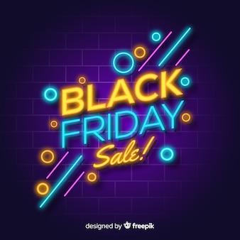 Czarny piątek sprzedaży neonów świateł tło