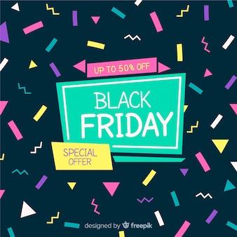 Czarny piątek sprzedaży tła szablonu memphis styl