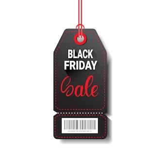 Czarny piątek sprzedaży zakupy tag z kodem kreskowym na białym tle