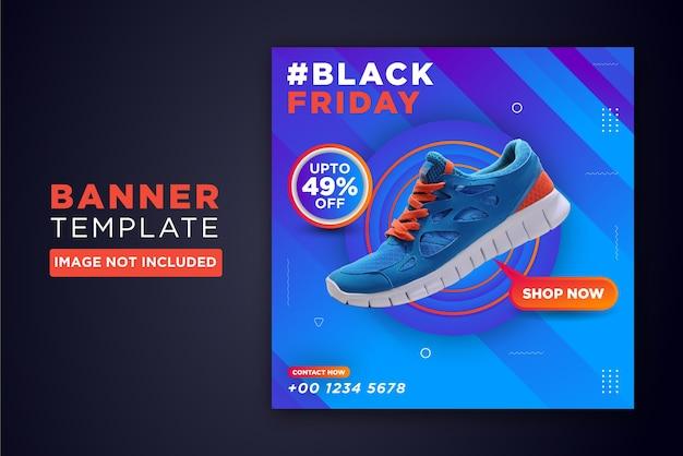 Czarny piątek stylowy sztandar butów