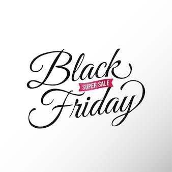 Czarny piątek super sprzedaż plakat banner typografia logo