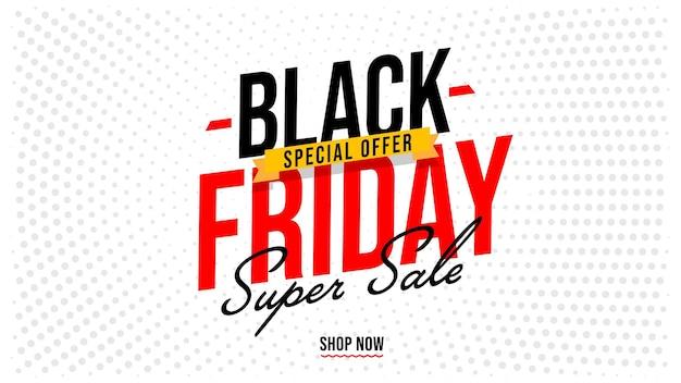 Czarny piątek super sprzedaż specjalna oferta plakat szablon transparent. promocja świątecznej imprezy hurtowej. kampania marketingowa online. koncepcja rozwoju i reklamy e-commerce. ilustracja wektorowa