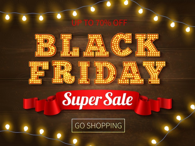 Czarny piątek super sprzedaż transparent reklama jasny tekst i ciąg świateł