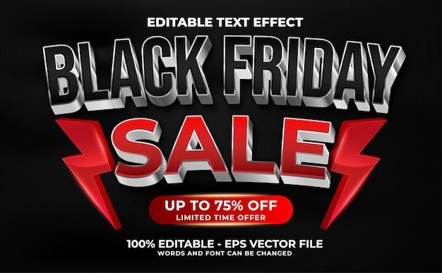 Czarny piątek super wyprzedaż 3d nowoczesny edytowalny styl szablonu efektu tekstowego premium wektorów