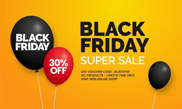 Czarny piątek super wyprzedaż proste social media sklep internetowy promocja banerów z balonem