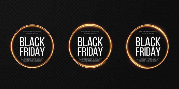 Czarny piątek super wyprzedaż realistyczna złota świetlista okrągła rama baner rabatowy na święta
