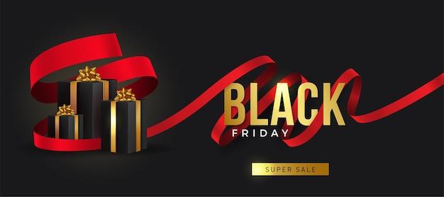 Czarny piątek super wyprzedaż realistyczne czarne pudełka na prezenty pudełko pełne ozdobnych świątecznych przedmiotów
