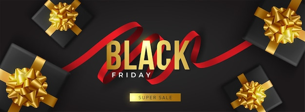Czarny piątek super wyprzedaż. realistyczne czarne pudełka na prezenty. złoty napis tekstowy.