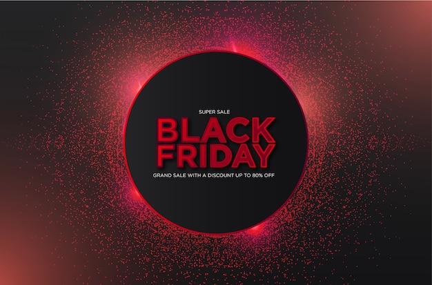 Czarny piątek super wyprzedaż z abstrakcyjnymi cząsteczkami 3d