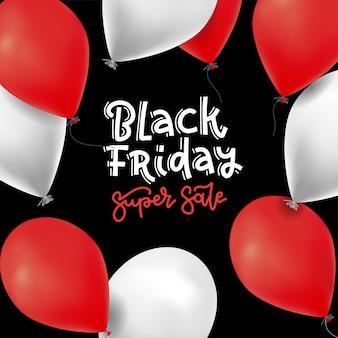 Czarny piątek super wyprzedaż z czerwonymi i białymi realistycznymi balonami.