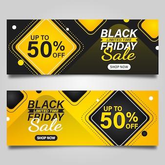 Czarny piątek szablon projektu transparentu na czarnym i żółtym tle. ilustracji wektorowych