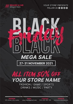 Czarny piątek szablon ulotki sprzedaży