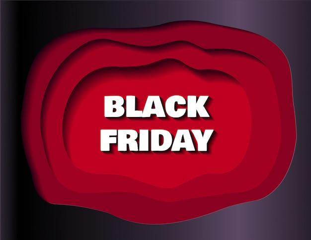 Czarny piątek sztandar sprzedaży dla sklepów i mediów społecznościowych w stylu wycinanki