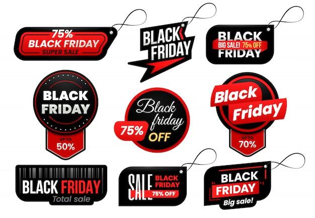Czarny piątek tag. zestaw etykiet sprzedaży marketingowej