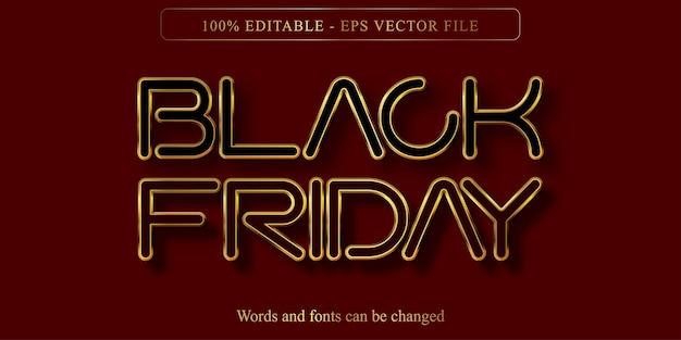 Czarny piątek tekst, edytowalny efekt tekstowy w złotym stylu