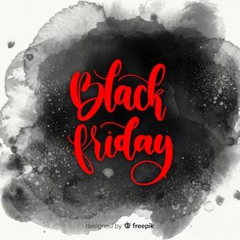 Czarny piątek tła sprzedaży z plamami akwarela
