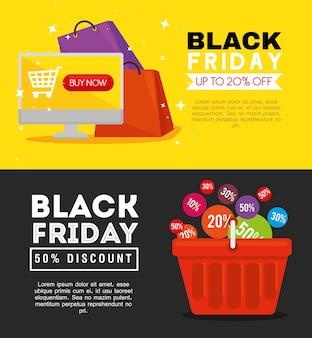 Czarny piątek torby komputerowe i projekt koszyka, oferta sprzedaży zapisywanie i zakupy