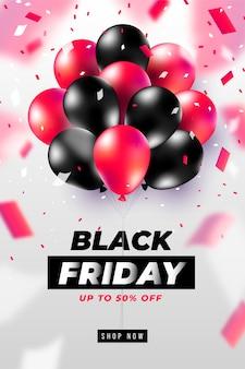 Czarny piątek transparent lub plakat z realistycznymi czerwonymi balonami