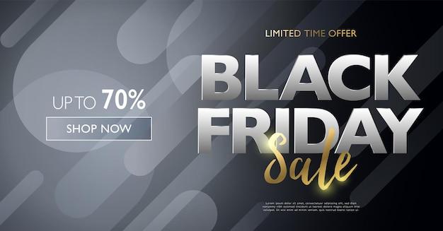 Czarny Piątek Transparent Sprzedaży Ze Srebrnymi I Złotymi Literami Na Czarnym Zaokrąglonym Tle Prostokąta Premium Wektorów