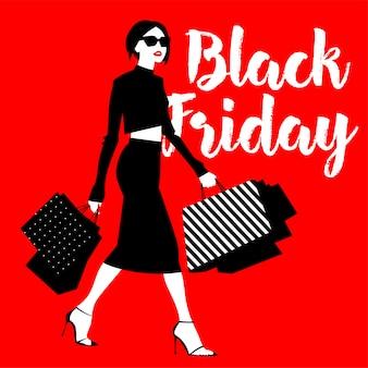 Czarny piątek transparent z dziewczyną i torbą na zakupy