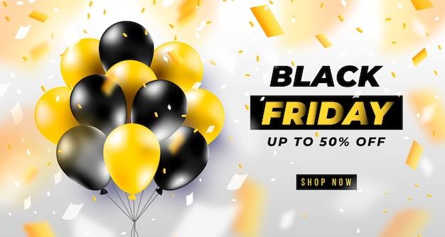 Czarny piątek transparent z realistycznymi czarnymi balonami