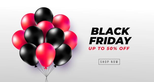 Czarny piątek transparent z realistycznymi czarnymi i czerwonymi balonami