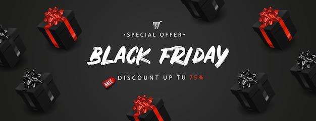 Czarny piątek transparent z realistycznymi czarnymi pudełkami na prezenty.