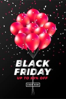 Czarny piątek transparent z realistycznymi czerwonymi balonami