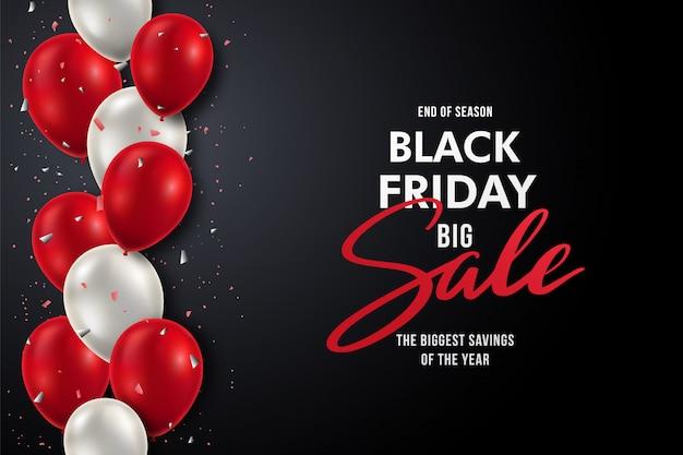 Czarny piątek transparent z realistycznymi czerwonymi i białymi balonami.