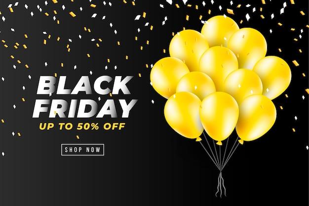Czarny piątek transparent z realistycznymi żółtymi balonami