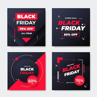 Czarny piątek w mediach społecznościowych szablon strony internetowej