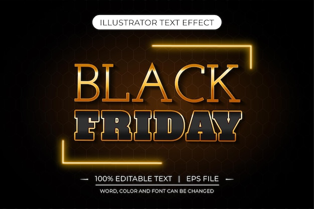 Czarny piątek wektor złoty i czarny edytowalny efekt tekstu premiumjpg