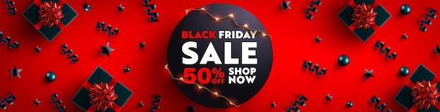 Czarny piątek wyprzedaż banner do sprzedaży detalicznej, zakupów lub promocji czarne pudełko upominkowe i świąteczny element na ciemnym tle. projekt transparentu w czarny piątek