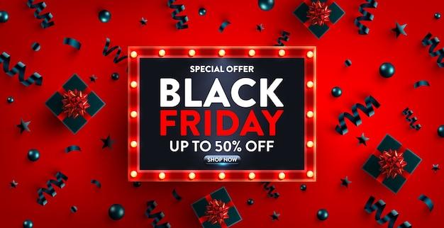 Czarny piątek wyprzedaż do sprzedaży detalicznej, zakupów lub promocji z czarnym pudełkiem prezentowym i znakiem świetlnym w stylu retro. projekt banera w czarny piątek na wielką wyprzedaż specjalna oferta roku