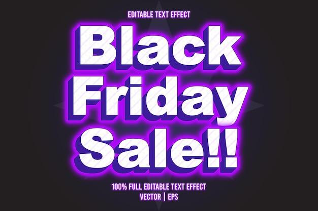 Czarny piątek wyprzedaż!! edytowalny styl neonowy z efektem tekstowym