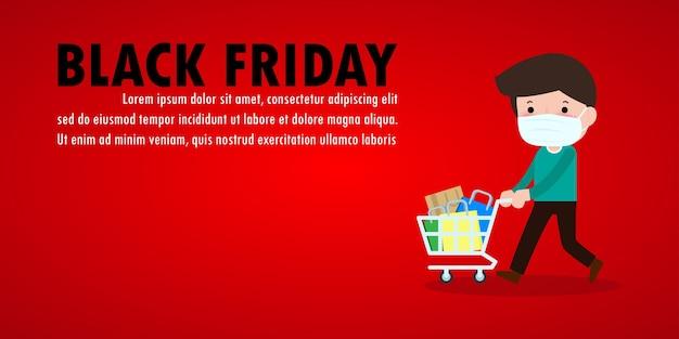 Czarny piątek wyprzedaż event ludzie postacie kreskówka z wózkiem na zakupy, nowy normalny styl życia zakupowego z ochroną koronawirusa lub covid-19 reklama plakat baner duży rabat koncepcja promocji wektor