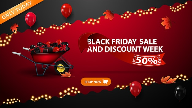 Czarny piątek wyprzedaż i tydzień rabatów, czerwony baner rabatowy z falistymi ukośnymi liniami ozdobiony girlandą, liście klonu, guzik, balony, taczka z prezentami i oferta ozdobiona czerwoną wstążką