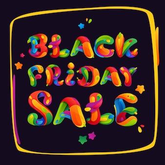 Czarny piątek wyprzedaż napis na kolorowej ramie na plakat, ulotki i inne reklamy.