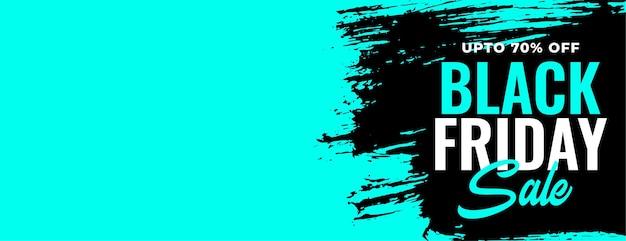 Czarny piątek wyprzedaż niebieski baner ze szczegółami oferty